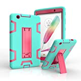LG G Pad X 8.0 / G Pad III 8.0 Case, Rugged High Impact Hybrid Drop proof Armor Defender Protection Case Built in Kickstand for LG G Pad X 8.0 V521/G Pad III 8.0 V525 8-Inch Tablet (green+rose)
