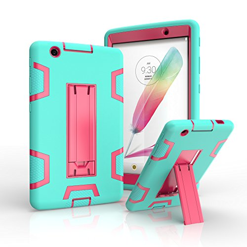 LG G Pad X 8.0 V521 Case, SUMOON Heavy Duty Rugged Shockproof Hybrid Three Layer Case Full Protection Cover with Kickstand For LG G Pad X 8.0 V521/G Pad III 8.0 V525 2016 (Mint/Rose)