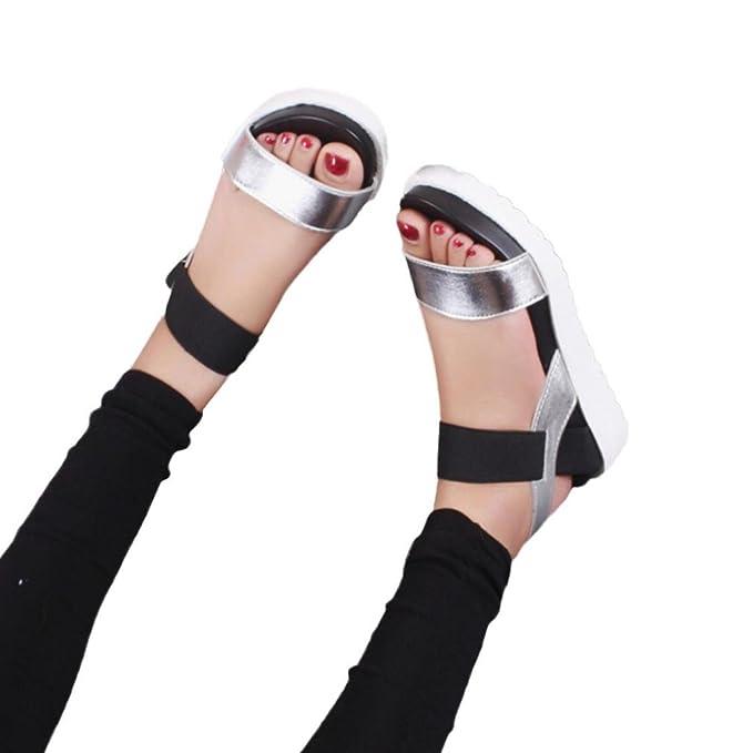 ZARLLE Sandalias Mujer Verano Baratas Plataforma Cuero Verano Zapatillas Deportivas Zapatos Planos Bajo De SeñOras Chanclas Zapatillas De Planas Zapatos De ...