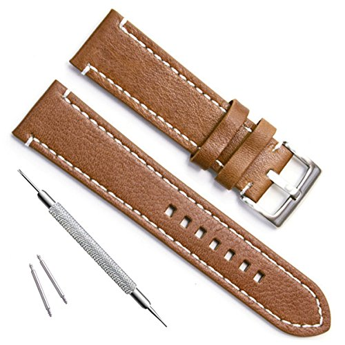 Handmade Vintage Replacement Leather Watch Strap/Watch Band (23mm, Sliver Buckle/Brown) (23mm Leather Watch Band)
