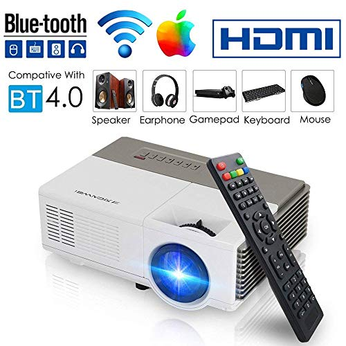 Smart Bluetooth WiFi Wireless Mini Projector LED LCD 1500 Lumen HDMI USB VGA Built-in Speaker Support 1080p HD Airplay Screen Mirror, Portable Video Projector Home Theater for Gaming Basement -
