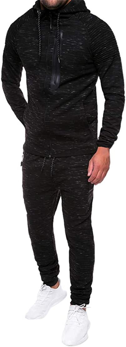 Mikey Store Men Speckled Folds Zipper Sweatshirt Top Pants Sets Sports Suit Tracksuit