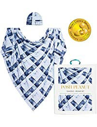 Baby Boy Swaddle Blanket - Large Premium Knit Viscose from Bamboo - Infant Swaddle Wrap, Receiving Blanket and Beanie Set, Baby Shower Newborn Gift, Registry - Blue Denim