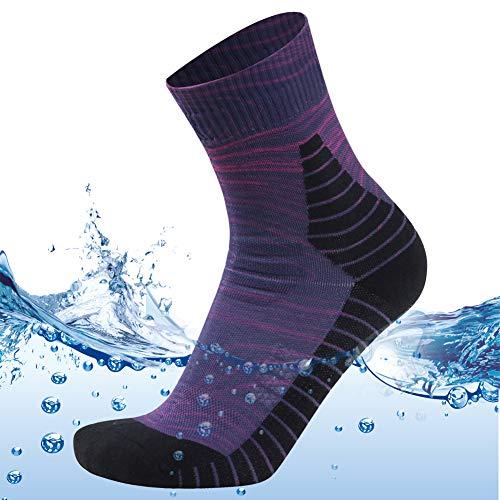 MEIKAN Men's Women's Novelty Athletic Socks Breathable Waterproof Socks, Keep Feet Dry and Cool 1 Pair (Purple, Large) by MEIKAN