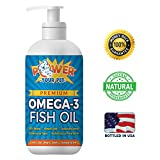 Power Your Pet Omega 3 Fish Oil for Dogs & Cats by Supports Healthy Skin, Coat, Joints, Kidneys, Heart, Immune System- EPA/DHA Nutrient Rich Fatty Acids, Non-GMO, Odorless- 16 oz bottle