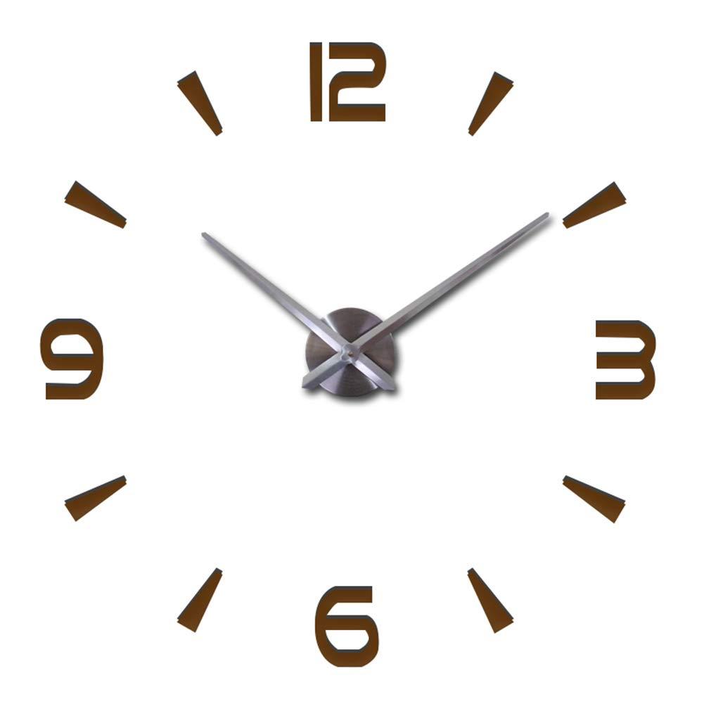 FASHION in THE CITY 3D DIY Wall Clock Mordern Design Mirror Surface Home Decor Murale Horloge (Coffee)