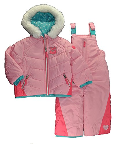 London Fog Baby Toddler Girls' Snowsuit with Snowbib and Puffer Jacket, Coral/Turq, 2T by London Fog