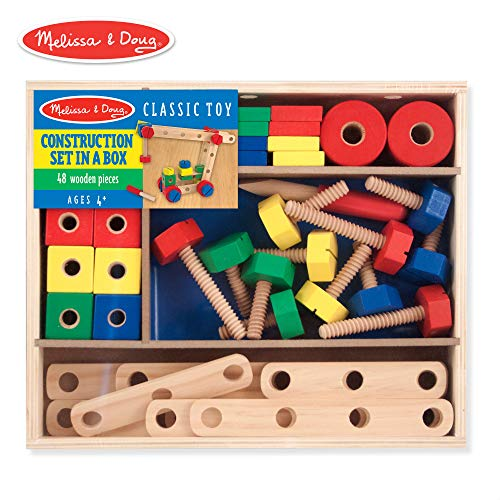 Melissa & Doug Wooden Construction Building Set in a Box (Developmental Toy, 48 Pieces, Great Gift for Girls and Boys – Best for 4, 5 and 6 Year Olds)