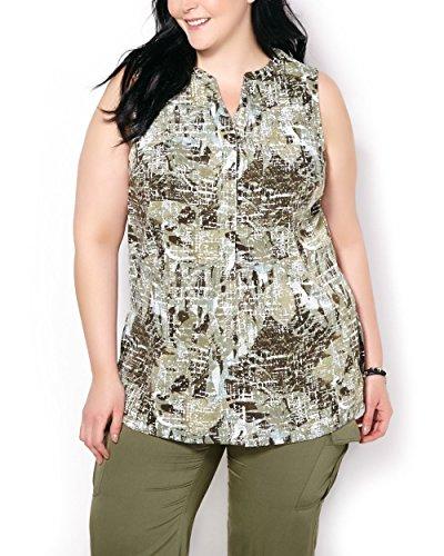 Penningtons Womens Plus Size Sleeveless Printed Blouse Deep Lichen Green 6X