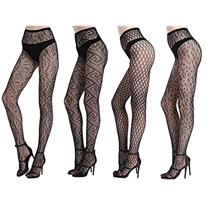 Joyaria Womens Sexy Lace Patterned Tights Fishnet Floral Stockings Pattern Pantyhose 4 Pack, Black 1 at Women's Clothing store