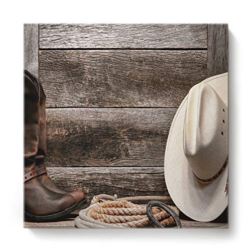 Canvas Print Wall Art for Living Room Western Cowboy Equipment Boots and Hat Wall Art Pictures for Home Decor Stretched and Framed Ready to Hang 16 x 16 inches