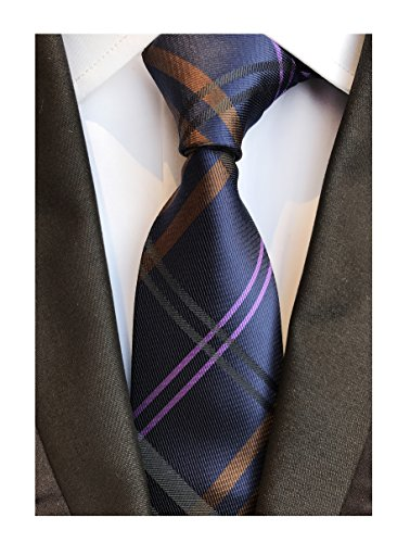 Men's Navy Blue Brown Pink Geometric Plaids Striped Tie Trendy Patterned Necktie (Pink Brown Striped Tie)