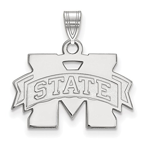 FB Jewels Solid Sterling Silver Logo Art Mississippi State University Small Pendant