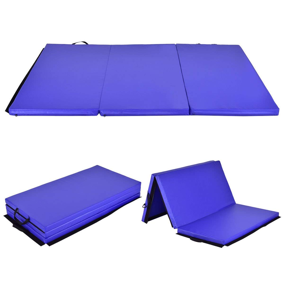 Giantex 6' x 4' Tri-Fold Gymnastics Mat Thick Folding Panel for Gym Fitness Exercise (Blue)