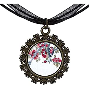 Chicforest Bronze Retro Style Apricot Blossoms Art Round With Flower Lace Pendant