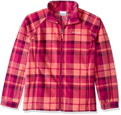 Columbia Little Girls' Benton Springs Ii Printed Fleece Jacket, Hot Coral Plaid, Small (Jumpers 2 Girls Plaid)