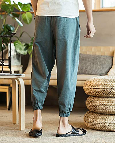 Pantalon Respirant En Homme Capri Confortable Bleu Baggy Décontracté Aden Lin Pantacourt Sarouel qfSnHWHT4