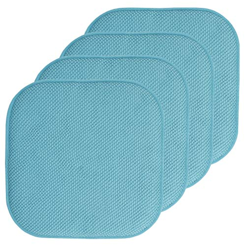 Sweet Home Collection Chair Cushion Memory Foam Pads Honeycomb Pattern Slip Non Skid Rubber Back Rounded Square 16″ x 16″ Seat Cover, 4 Pack, Teal