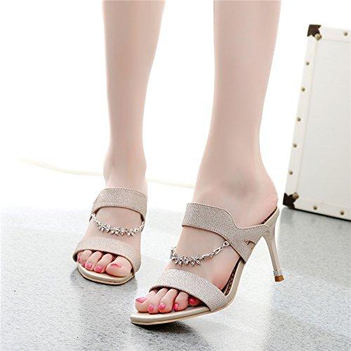 forte sexy scarpe piedi trascinando da stoppa sandali GTVERNH trentaquattro estate dita i 8 semplice 10cm donne donna alti sandali caduta tacchi moda dei golden pwRA8wqz