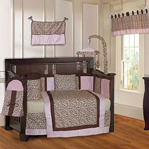 (10 Piece Brown Pink Leopard Baby Crib Bedding Set with Musical Mobile Cheetah Themed Wild Animal Crib Bedding for Girls Boys Nursery Bed Set Infant Child Blanket Quilt Skirt & More, Super Soft Cotton)