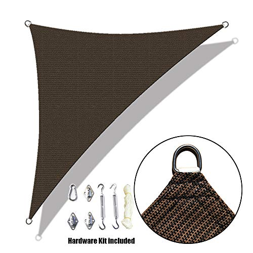 Alion Home Custom Right Triangle HDPE UV Block Sun Shade Sail Permeable Canopy with Stainless Hardware Kit 18 x 18 x 26 , Brown