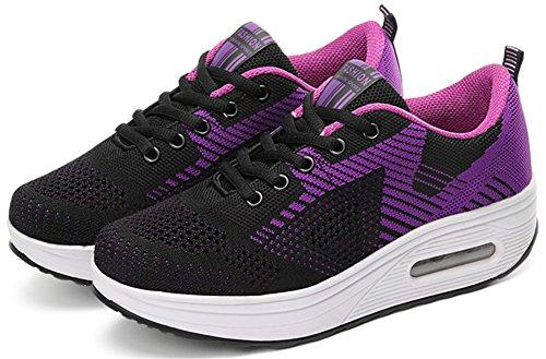 Volwassen Dames Shape Ups Mesh Walking Fitness Schoenen Fashion Sneakers Paars