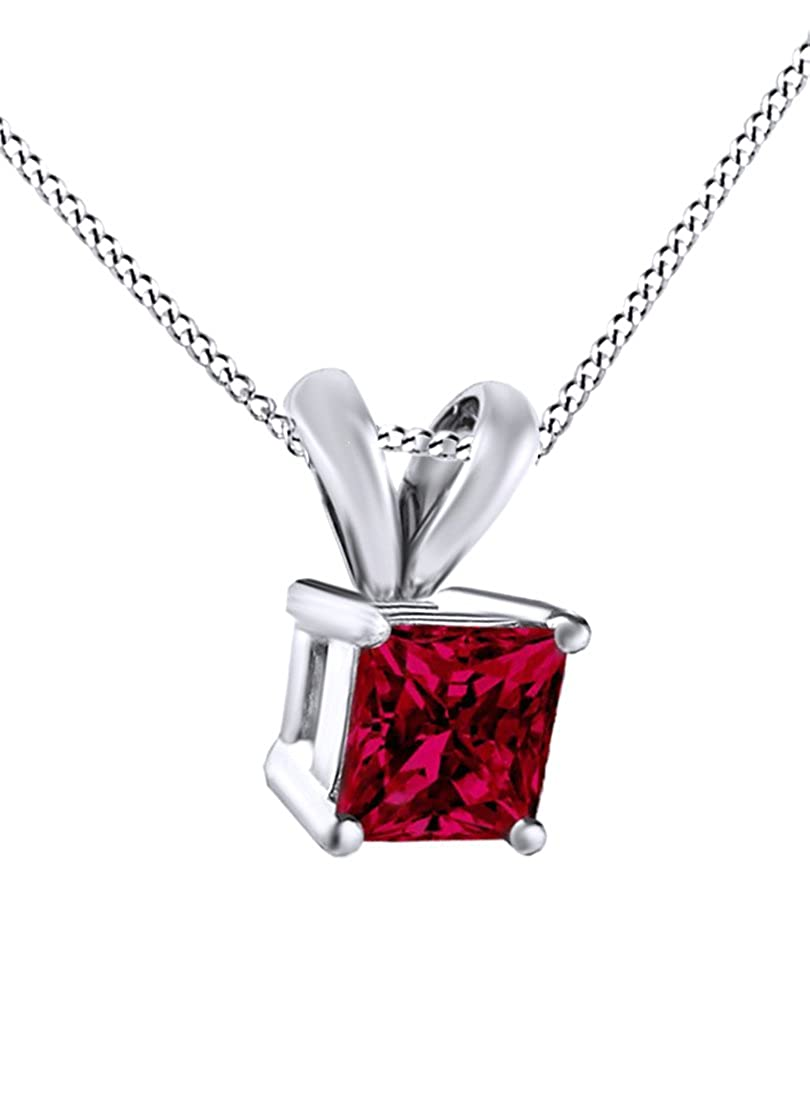 2.5 Cttw Jewel Zone US Square Princess Cut Simulated Ruby Pendant /& Chain in 14k Gold Over Sterling Silver
