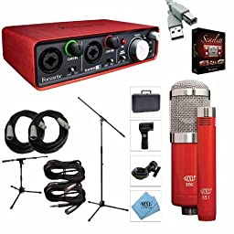 Focusrite Scarlett 2i2 2nd Gen 2 USB 2.0 Audio Interface - Bundle With MXL 550/551R Condenser Mic Kit Red, 2x 20' 8mm XLR Mic Cable, 2x 15ft 3-Pin XLR to TRS Cable, Mic Stand, Samson MB1 Mini Boom Stand