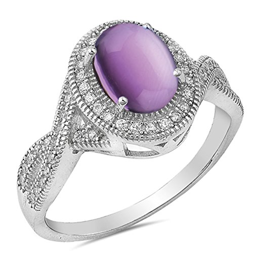 925 Sterling Silver Cabochon Natural Genuine Purple Turquoise Vintage Oval Ring Size 7 ()