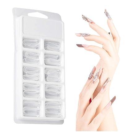 Kit de gel de poliéster, falso molde de uñas 100 unids Clear Nail Form cubierta