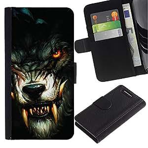 Ihec-Tech / Flip PU Cuero Cover Case para Sony Xperia Z1 Compact D5503 - Werewolf Bloody Fangs