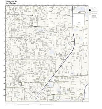 Margate Florida Map.Amazon Com Zip Code Wall Map Of Margate Fl Zip Code Map Laminated