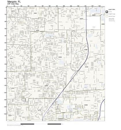 Margate Florida Map.Amazon Com Zip Code Wall Map Of Margate Fl Zip Code Map Not