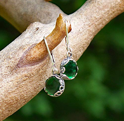 - Recycled Vintage 1960's Green Beer Bottle Sterling Silver Botanical Leverback Earrings