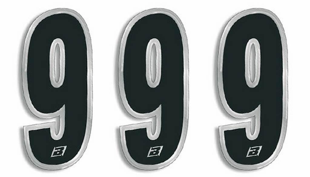 BLACKBIRD RACING - 39075 : Numeros Carrera Negro - Pack De 3 Uds Cm.15X7 5069/20/4