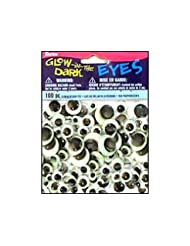 Darice 100 Piece Movable Paste on Eyes Glow in The Dark