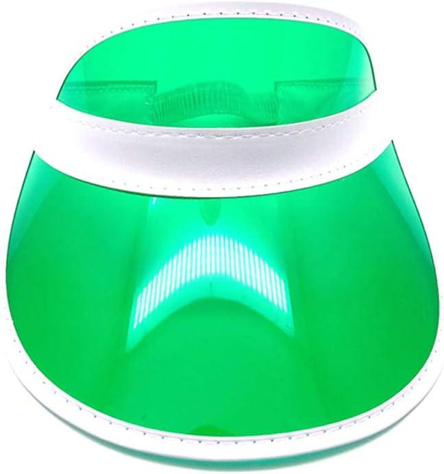 VIccoo 10 Colores Mujeres Hombres Transparente PVC plástico sombrilla Sombrero Helado Dulce Color Caramelo vacío Abierto Superior Deportes Playa Visera Gorra Correa Espalda - 3