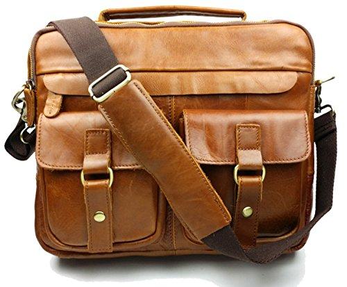 Piel Bag insum Vintage Claro Hombre Messenger Marrón B7CBqZ0w5