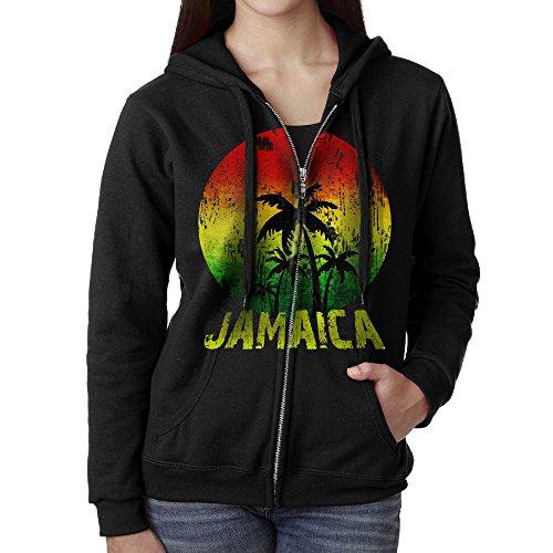 Female Jamaica Rasta Flag Coconut Tree Full Zip Hoodie Sweatshirt Fleece Pullover Hooded Shirts Pocket L