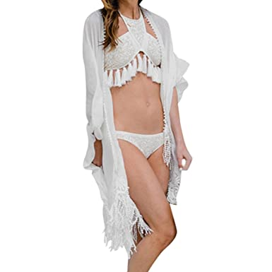 b128aaa3748 VEMOW Tops for Women Ladies Girls Spring Summer New UK Sexy Bohemia Bathing  Bikini Swimwear Home Slim White Crochet Kimono Cover up Beachwear Fashion  ...
