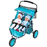 Dimples Mia Twin Jogger Blue Perfect for Doll Lovers with Adjustable Handle Height