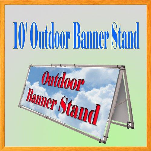 DSM Brand ~10'x4' Aluminum Monsoon Outdoor A Frame Banner Double Display Stand Portable Lightweight Soccer Church Event