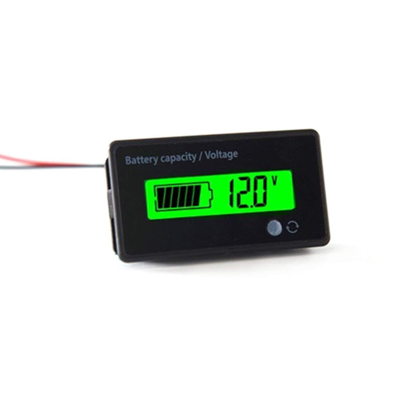 Universel /Étanche 6-63V Affichage LCD Num/érique Acide au Plomb Batterie au Lithium Indicateur de Tension Testeur P/ériph/érique Noir