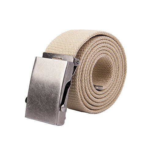 Belt Mens Buckle Logoed (Gelante Canvas Web Belt Military Style Belt 30-2042-Beige)