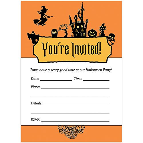 25 Halloween Party Invitations with Envelopes (Pack of