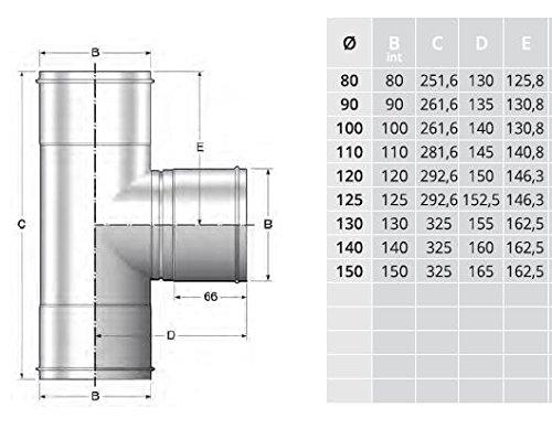 Te chapa galvanizada 0,5mm /Ø 150 con tap/ón