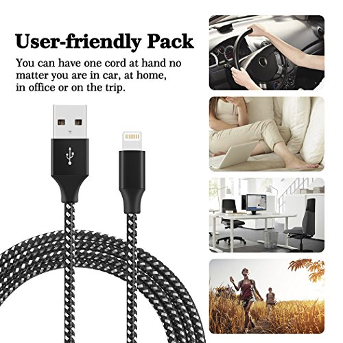 Lightning Cable iPhone Charger 4Pack 3FT 6FT 6FT 10FT Nylon Braided 8 Pin Lightning to USB Charger for iPhone X iPhone 8 8 Plus 7 7 Plus 6s 6s Plus 6 6 Plus iPad iPod Nano