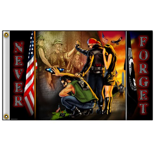 Hot Leathers   Multicolor  Vietnam Wall Flag