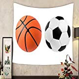 Lee S. Jones Custom tapestry soccer ball and basketball ball closeup image soccer ball and basketball ball on isolated