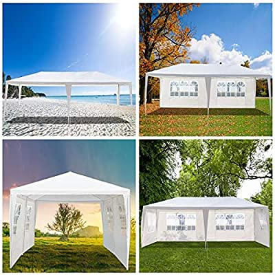 3 x 6m (118 x 236) Outdoor Canopy Party Event Wedding Tent Patio Gazebo with 4 Removable Sidewall 2 Rooms,Upgraded Iron Tube Waterproof Sun Shelter Canopy for Shows,Camping Etc: Kitchen & Dining